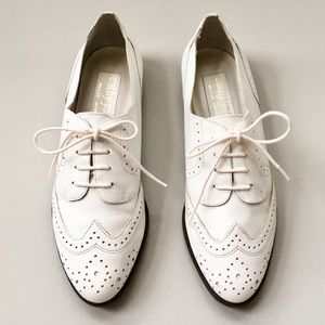 Vintage Cathy Jean White Leather Oxford Loafer
